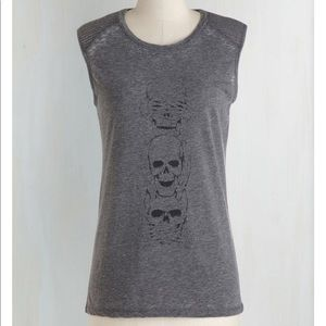 8761a6d3f2 Gray Sleeveless Skeleton Top